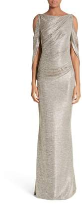 Talbot Runhof Cold Shoulder Drape Back Gown