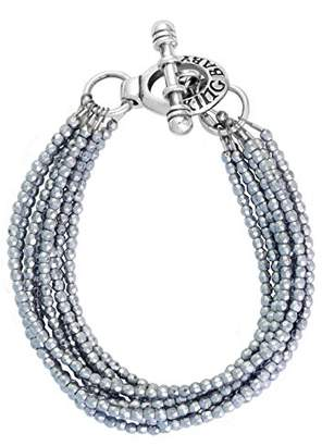 King Baby Studio Women's 925 Sterling Silver Eight Strands Hematite Beads Bracelet with Mini Toggle Clasp