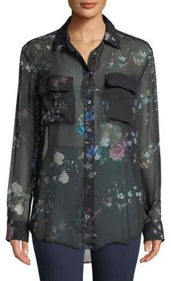 Equipment Button-Front Long-Sleeve Floral-Print Sheer Silk Blouse