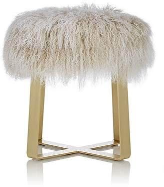 Barneys New York Tibetan Lamb Fur Footstool