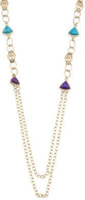 Handmade In Thailand Turquoise Lapis Bronze Necklace