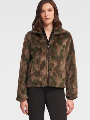 DKNY Faux-Fur Camo-Print Coat