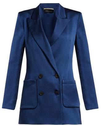 Roland Mouret Talbot Hammered Stretch Silk Blazer - Womens - Blue