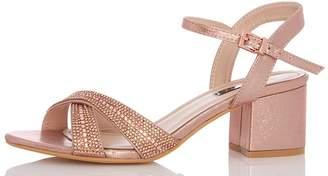 Quiz Rose Gold Shimmer Cross Strap Sandals