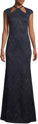 St. John Halter-Neck Cap-Sleeve Mod Zigzag Metallic Knit Evening Gown w/ Sequins