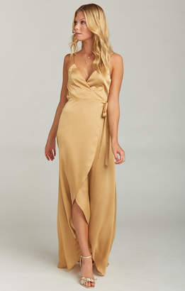 Show Me Your Mumu Mariah Wrap Dress ~ True Gold Luxe Satin