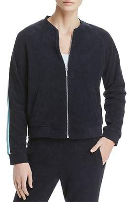 Andrew Marc Stripe-Trimmed Terry Bomber Jacket
