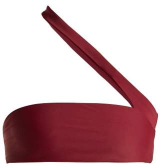 JADE SWIM Halo One Shoulder Bandeau Bikini Top - Womens - Burgundy