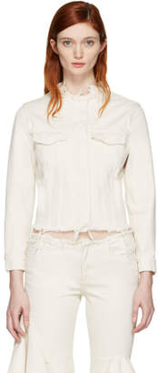 Marques Almeida Off-White Denim Collarless Jacket