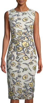 St. John Jewel-Neck Painted Floral Organza Dress