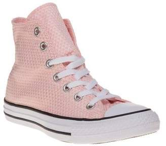 Converse New Womens Pink All Star Hi Textile Trainers Canvas Lace Up