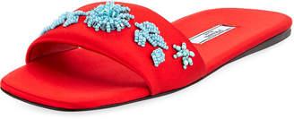 Prada Beaded Satin One-Band Flat Slide Sandal