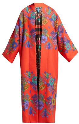 Rianna + Nina - Freia Floral Print Wool Coat - Womens - Orange Print