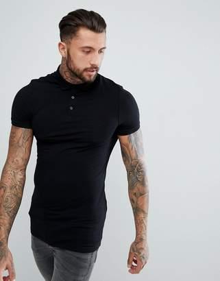 Asos DESIGN longline muscle fit polo in jersey in black