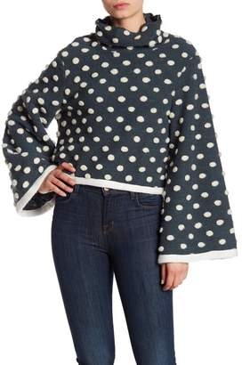 TOV Polka Dot Turtleneck Wool Blend Sweater
