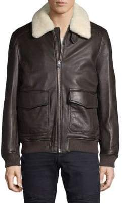 Michael Kors Leather & Lamb Shearling Flight Jacket