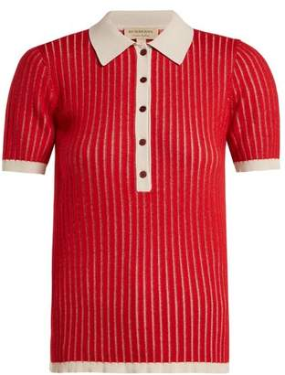 Burberry Contrast Collar Cashmere Blend Polo Shirt - Womens - Red