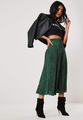 Missguided Green Plisse A Line Midi Skirt