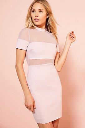 Kimchi Blue Bubble Gum Mesh Ponte Mini Dress $79 thestylecure.com