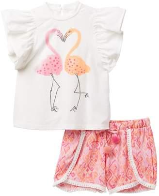 Jessica Simpson Ruffle Top & Printed Shorts Set (Toddler Girls)