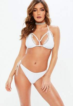 Missguided Lace Trim Harness Bikini Set
