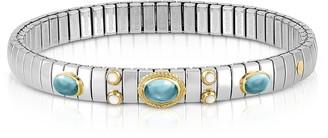 Nomination Stainless Steel Women's Bracelet w/Light Blue Topaz Oval Beads
