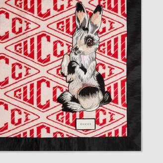 Gucci Game throw blanket with rabbit