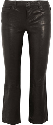 J Brand - Selena Cropped Stretch-leather Flared Pants - Black $995 thestylecure.com