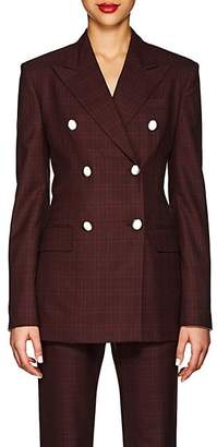 Calvin Klein Women's Plaid Wool-Silk Double-Breasted Blazer - Burgundy Black Red
