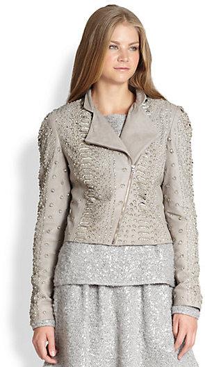 Alice + Olivia Jace Embellished Leather Moto Jacket
