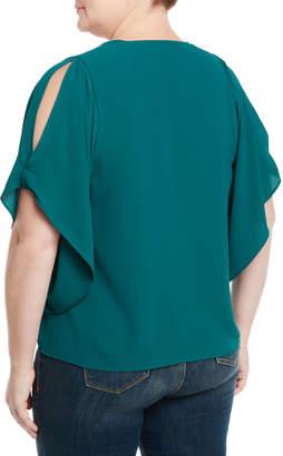 Rachel Roy Plus Scoop-Neck Flutter-Sleeve Georgette Top, Plus Size