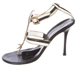 Brian Atwood Leather Multistrap Sandals