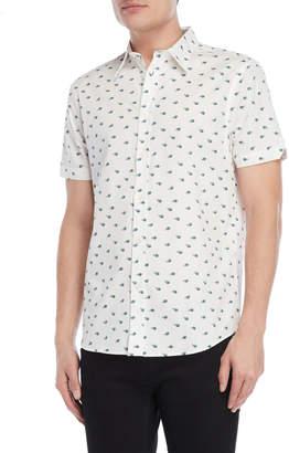 Ben Sherman Peacock Feather Print Short Sleeve Sport Shirt