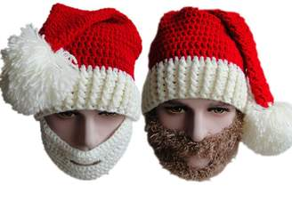BIBITIME Christmas Knitted Crochet Santa Beanie Hat with Retractable Beard Mask ( White for Kids Boys Girls Children Winter Cap Christmas Gift)