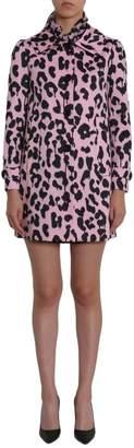 Moschino Leopard Print Tie Neck Detail Coat
