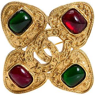 One Kings Lane Vintage Chanel Gripoix Maltese Cross Pin - 1994