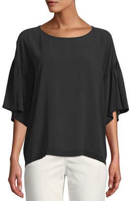 Eileen Fisher Scoop-Neck Elbow-Sleeve Silk Crepe Top, Petite