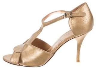 Lanvin Metallic Leather Ankle Strap Pumps