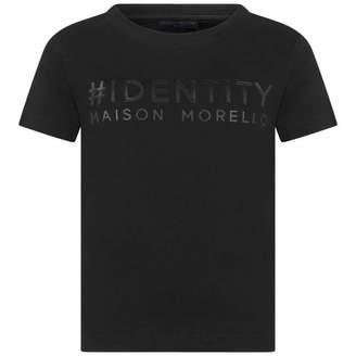 Frankie Morello Frankie MorelloBoys Identity Print Black Top