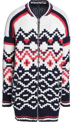 Maje Wool-Blend Jacquard-Knit Cardigan