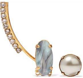 Elizabeth Cole Convertible Gold-Tone Stone Faux Pearl And Crystal Earring