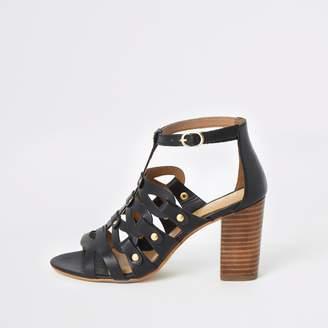 18a3584d77 River Island Womens Ravel Black caged block heel sandals
