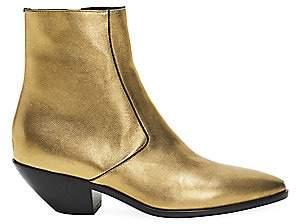 Saint Laurent Women's West Metallic Leather Ankle Boots
