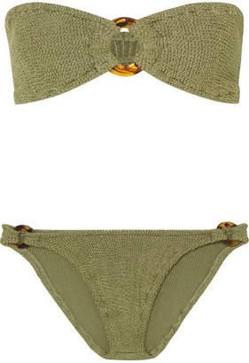 Hunza G - Gloria Embellished Seersucker Bandeau Bikini - Dark green