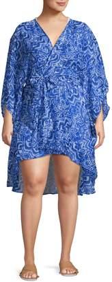 Lauren Ralph Lauren Plus Plus Belted Wrap Coverup