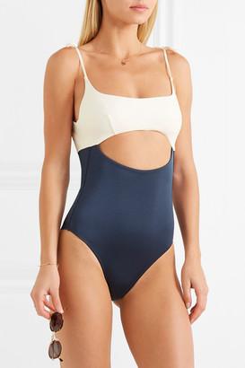 Emma Pake Guilia Cutout Two-tone Swimsuit - Navy