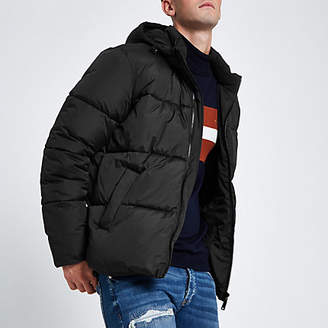 River Island Black hooded puffer jacket with funnel neck