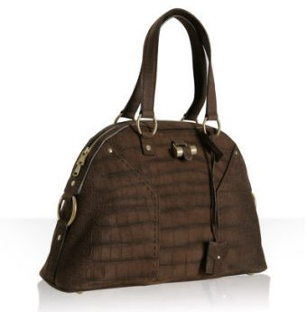 Yves Saint Laurent chocolate croc nubuck 'Muse' large tote