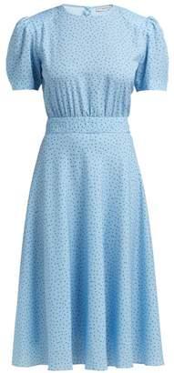 Vika Gazinskaya Puffed Sleeve Polka Dot Crepe Dress - Womens - Blue Multi