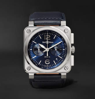 Bell & Ross Br 03-94 42mm Steel And Leather Chronograph Watch